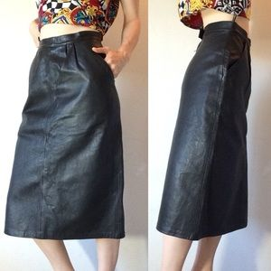 Vintage Black Leather Midi Skirt Pockets
